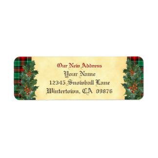 Vintage Holly Red Green Plaid Holiday New Address Return Address Label