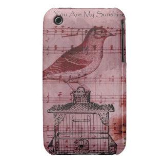 Vintage Hollyhock Song Bird iPhone 3 Case