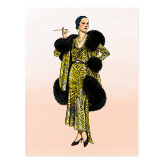 Vintage Hollywood Couture Fashion Illustration Postcard