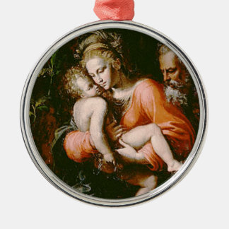 VINTAGE HOLY FAMILY Silver-Colored ROUND DECORATION