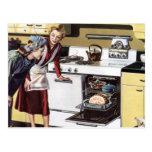 Vintage Home Interior, Mum in the Kitchen Cooking Postcard