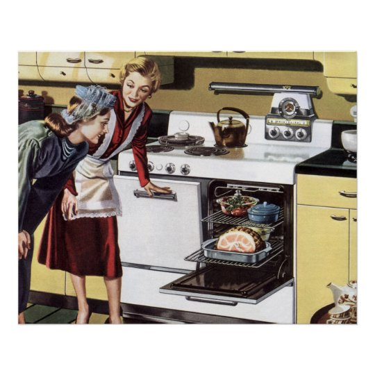 Vintage Home Interior, Mum in the Kitchen Cooking Poster