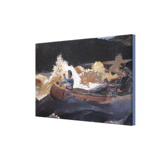 Vintage Homer Shooting The Rapids, Saguenay RIver Canvas Print