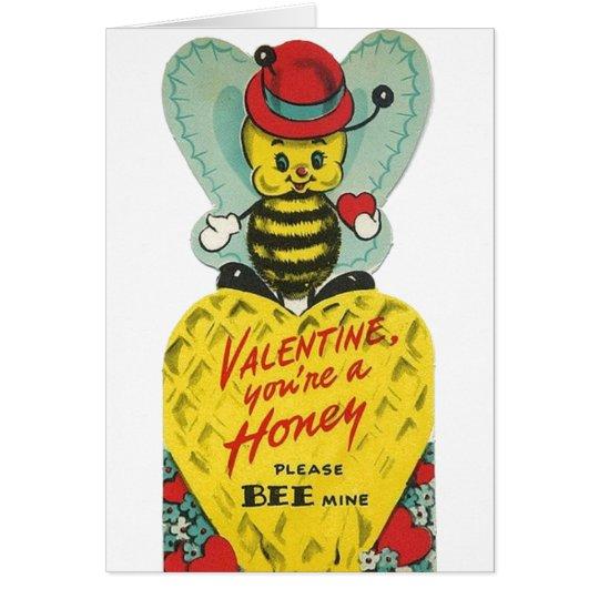 Vintage Honey Bee Valentine's Day Card