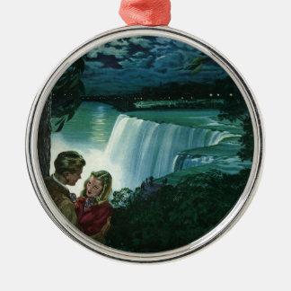 Vintage Honeymoon Love, Newlyweds at Niagara Falls Silver-Colored Round Ornament