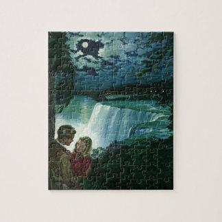 Vintage Honeymoon Love, Newlyweds at Niagara Falls Jigsaw Puzzle