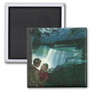 Vintage Honeymoon Love, Newlyweds at Niagara Falls Magnet