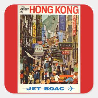 Vintage Hong Kong Airline Travel Advertisement Square Sticker