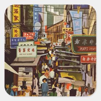 Vintage Hong Kong Square Sticker