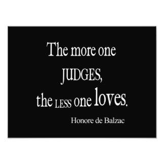 Vintage Honore Balzac More Judge Less Love Quote Photo Print