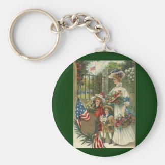 Vintage Honoring Memorial Day Basic Round Button Key Ring