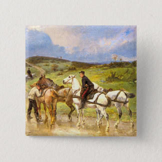 Vintage Horse Art: Changing Horses 15 Cm Square Badge