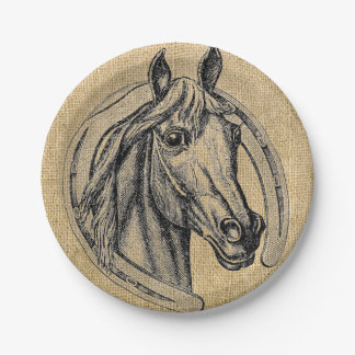 Vintage Horse Cameo Paper Plates
