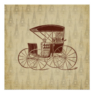 Vintage Horse Carriage in Paris Poster