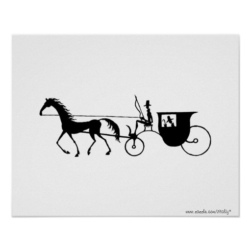 Vintage Horse Carriage pen ink drawing poster
