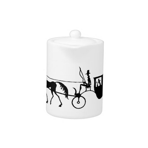 Vintage Horse Carriage pen ink drawing teapot