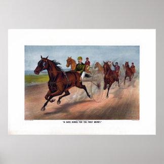 Vintage horse carriage racing print