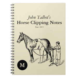 VINTAGE Horse Clipping Monogram Notebook