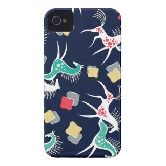 Vintage Horse Design on Navy Backgroud iPhone 4 Case