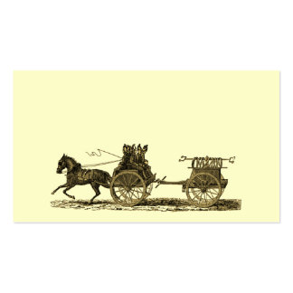 Vintage Horse Drawn Fire Engine Illustration Business Card Templates