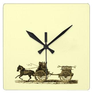 Vintage Horse Drawn Fire Engine Illustration Wall Clock