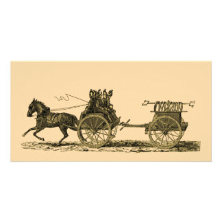 Vintage Horse Drawn Fire Engine Illustration Customised Photo Card