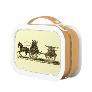 Vintage Horse Drawn Fire Engine Illustration Lunchboxes