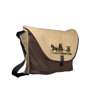 Vintage Horse Drawn Fire Engine Illustration Messenger Bag