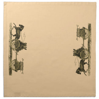 Vintage Horse Drawn Fire Engine Illustration Napkin