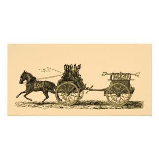 Vintage Horse Drawn Fire Engine Illustration Photo Greeting Card