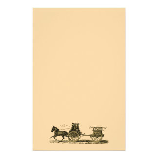 Vintage Horse Drawn Fire Engine Illustration Customized Stationery