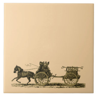 Vintage Horse Drawn Fire Engine Illustration Ceramic Tiles