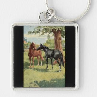 Vintage Horse Mare Stallion Equestrian Key Ring