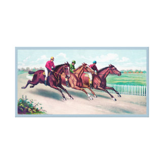 VINTAGE HORSE RACE.  HORSES AND JOCKEYS RACING CANVAS PRINT