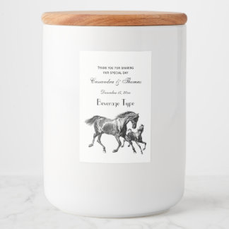 Vintage Horses Mother Baby Foal Food Label