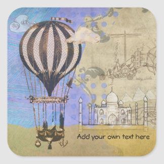Vintage Hot Air Balloon Airplane Travel Square Sticker