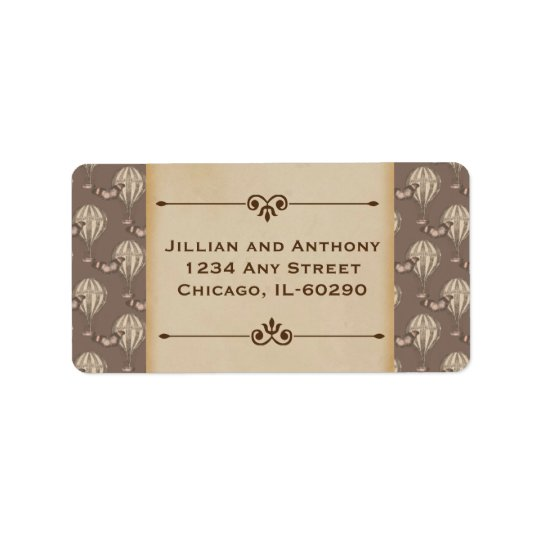 Vintage Hot Air Balloon Brown Address label