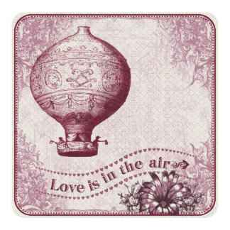 Vintage Hot Air Balloon Burgundy VHZX Card