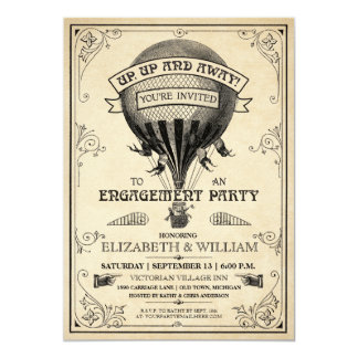 "Vintage Hot Air Balloon Engagement Party Invite 5"" X 7"" Invitation Card"
