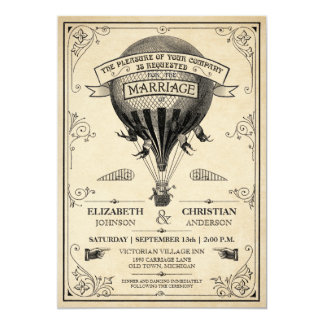 Vintage Hot Air Balloon Wedding Invitation