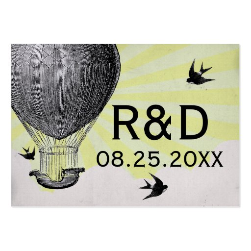 Vintage Hot Air Balloon Wedding Place Card Business Cards