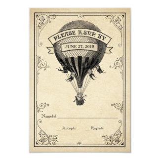 Vintage Hot Air Balloon Wedding RSVP 9 Cm X 13 Cm Invitation Card