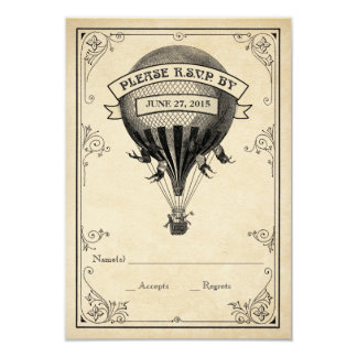 Vintage Hot Air Balloon Wedding RSVP Card
