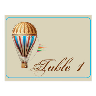 Vintage Hot Air Balloon Wedding Table Number Postcard