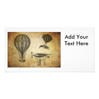 Vintage Hot Air Balloons and Dirigibles Photo Card Template