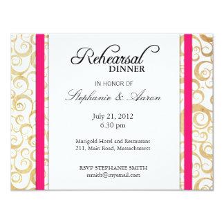 Vintage Hot Pink Swirl Rehearsal Dinner Card