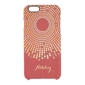 Vintage Hot Red Sparkle Radial Gold Dots Monogram Clear iPhone 6/6S Case