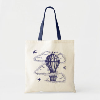 Vintage hot to air balloon tote bag