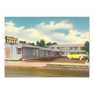 Vintage Hotel, Golden West Lodge Motel 5x7 Paper Invitation Card