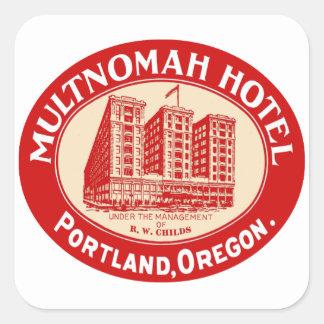 Vintage Hotels Hotel Multnomah Portland OR Square Sticker